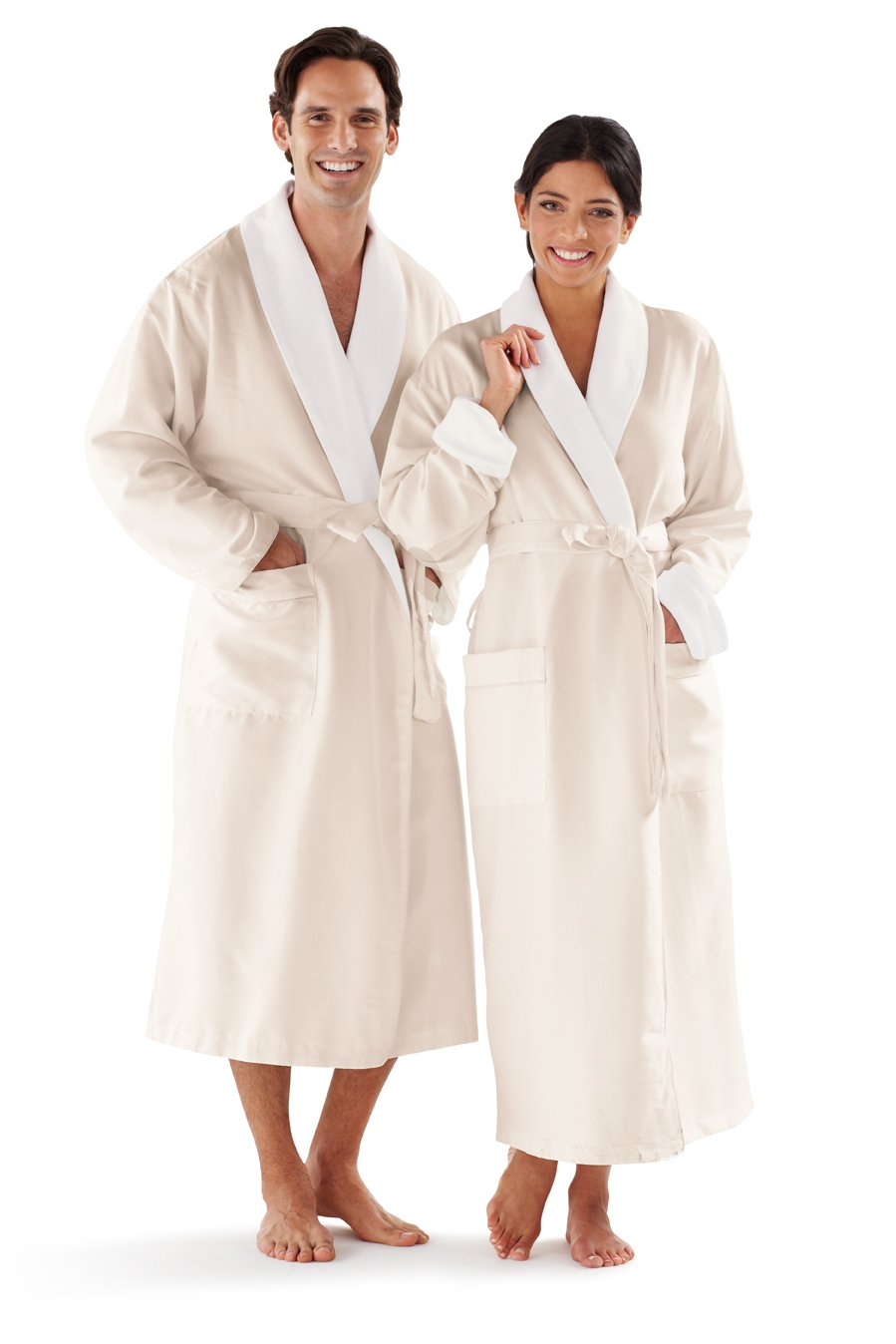 Boca Terry Women's and Men's Robe, Luxury Microfiber Eggshell Bathrobe, One Size Fits All