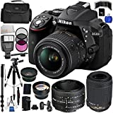 Nikon D5300 Digital SLR Camera Kit with 18-55mm, 55-200mm & 50mm Lenses. Includes: Wide Angle & Telephoto Lenses, 3 Piece Filter Kit (UV-CPL_FLD), 16GB Memory Card, Tripod, Minopod, Case & Much More