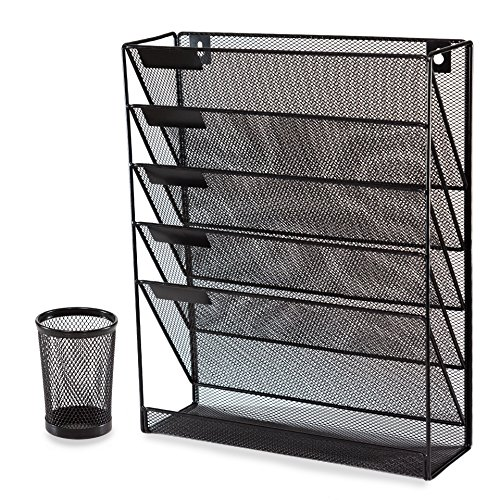 Black Mesh Desk and Wall Organizer File Holder Literature Mail Magazine Rack with Free Pen Holder Office Supplies