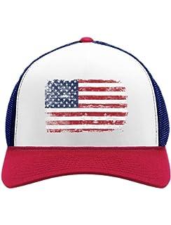 ca927ba5553 4th of July Vintage Distressed USA Flag American Patriot Trucker Hat Mesh  Cap
