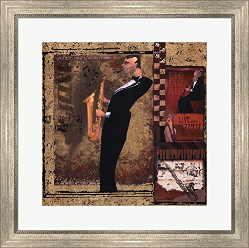 Jazz Sax - Mini by CW Designs, Inc. Framed Art Print Wall Picture, Silver Scoop Frame, 24 x 25 inches ()