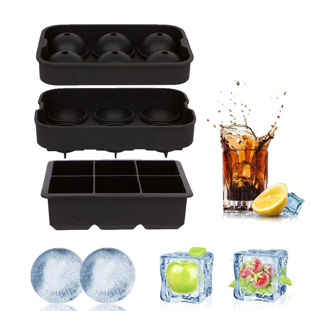 Ice Cube Trays Silicone Sphere Ice Mold, Aolvo Ice Ball Maker with Funnel for Whiskey, Cocktail and Any Drink, Reusable and BPA Free - Black (Set of 2)