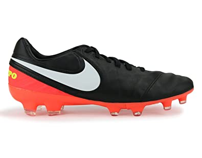Nike Men s Tiempo Legacy II FG Black White Hyper Orange Soccer Shoes 6.5 52607e66c25f3