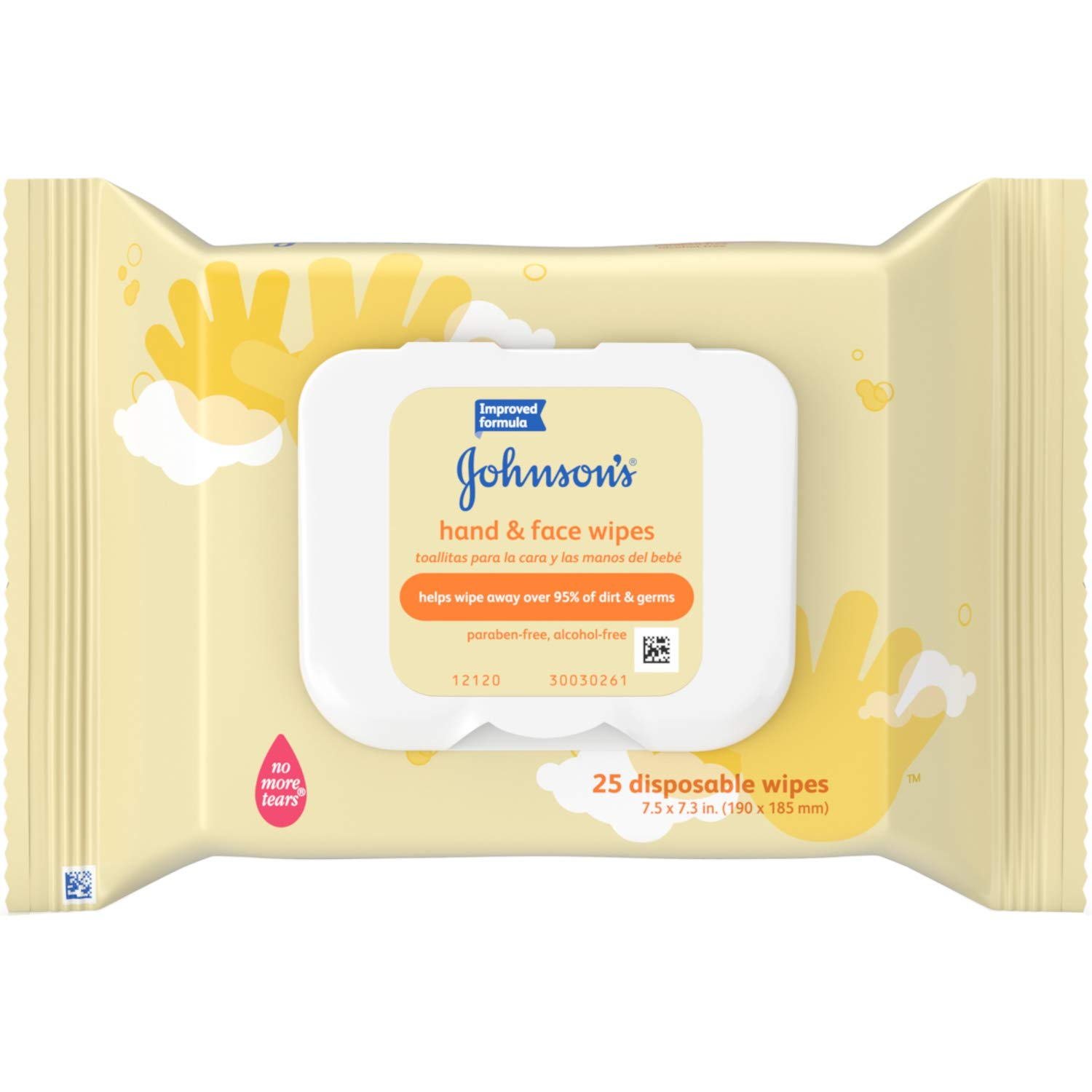 Johnson's Baby Hand and Face Wipes, Pack of 12, 25 Wipes Each