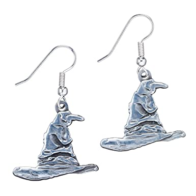 Silver Plated Harry Potter Sorting Hat Drop Earrings CamAw9y6