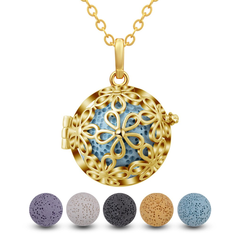 INFUSEU Dazzling Daisy Diffuser Pendant Necklace Aromatherapy Essential Oils Locket Jewelry with 5 PCS Lava Stone Rock Beads for Women Set