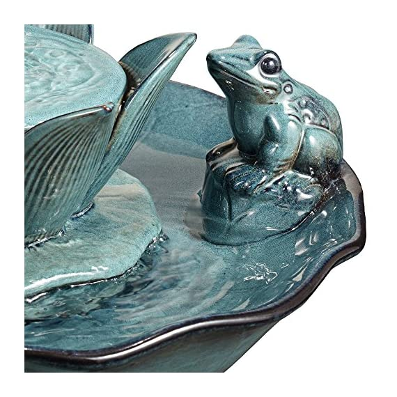 """John Timberland Pleasant Pond Frog Lotus Modern Outdoor Floor Water Bubble Fountain 25 1/4"""" High Scalloped Pedestal Bowl for Yard Garden Patio Deck - 25 1/4"""" high x 15 1/2"""" wide. Weighs 19.8 lbs. Outdoor pedestal ceramic fountain with frog and lotus flower. By John Timberland. Charming lotus and frog motif. Water bubbles up from center water flower. Makes a wonderful accent for gardens or patios. - patio, outdoor-decor, fountains - 612YJ5NTIWL. SS570  -"""