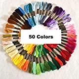 Rrimin Polyester Embroidery Thread Hand Cross Stitch Floss Sewing Skeins Craft (50 Colors)