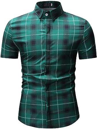 NSSY Camisa de Hombre Camisas, Hombres, Manga Corta, Rayas Impresas, Cuello Alto y doblado, Camisas de Hombres, XXXL: Amazon.es: Hogar