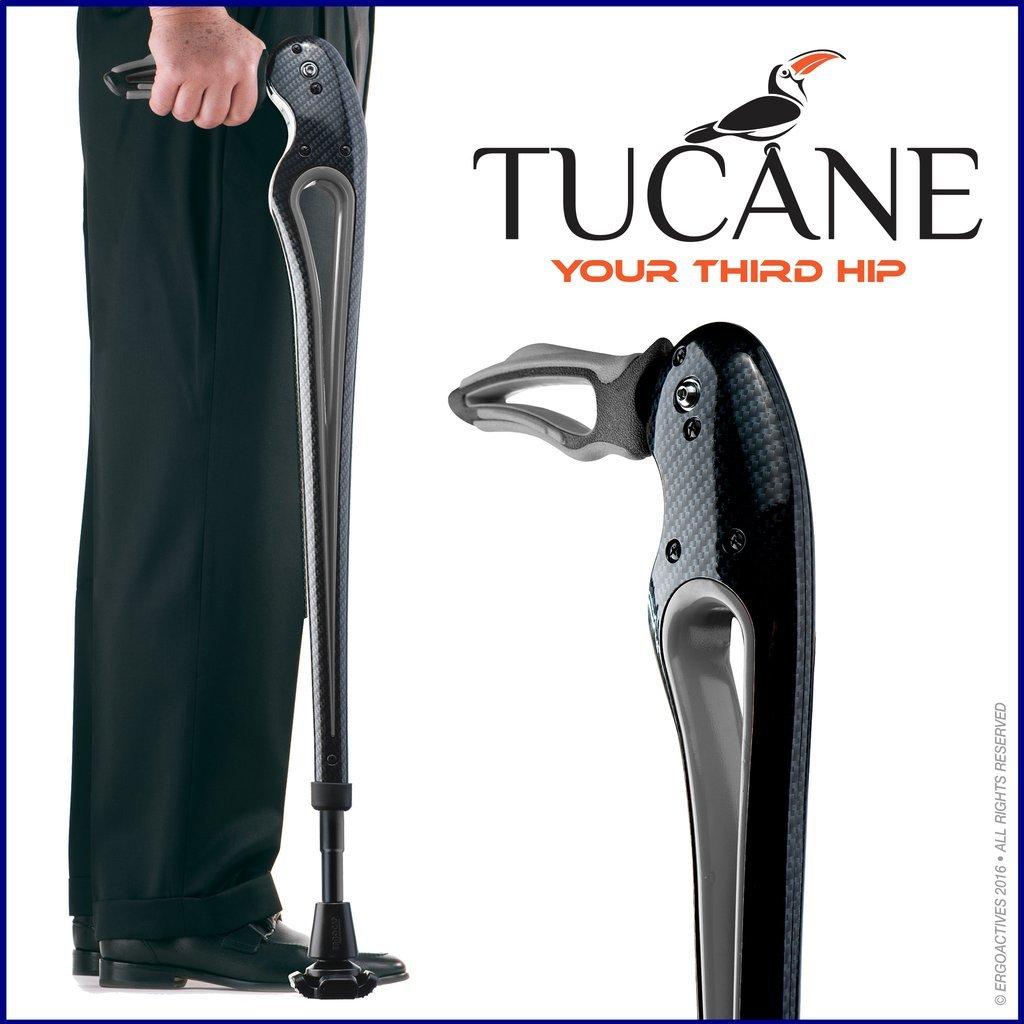 Tucane Lite 8X- Self-Propelled Advanced Walking Stick (8x lighter than old version) (Black/ Gray Tones)