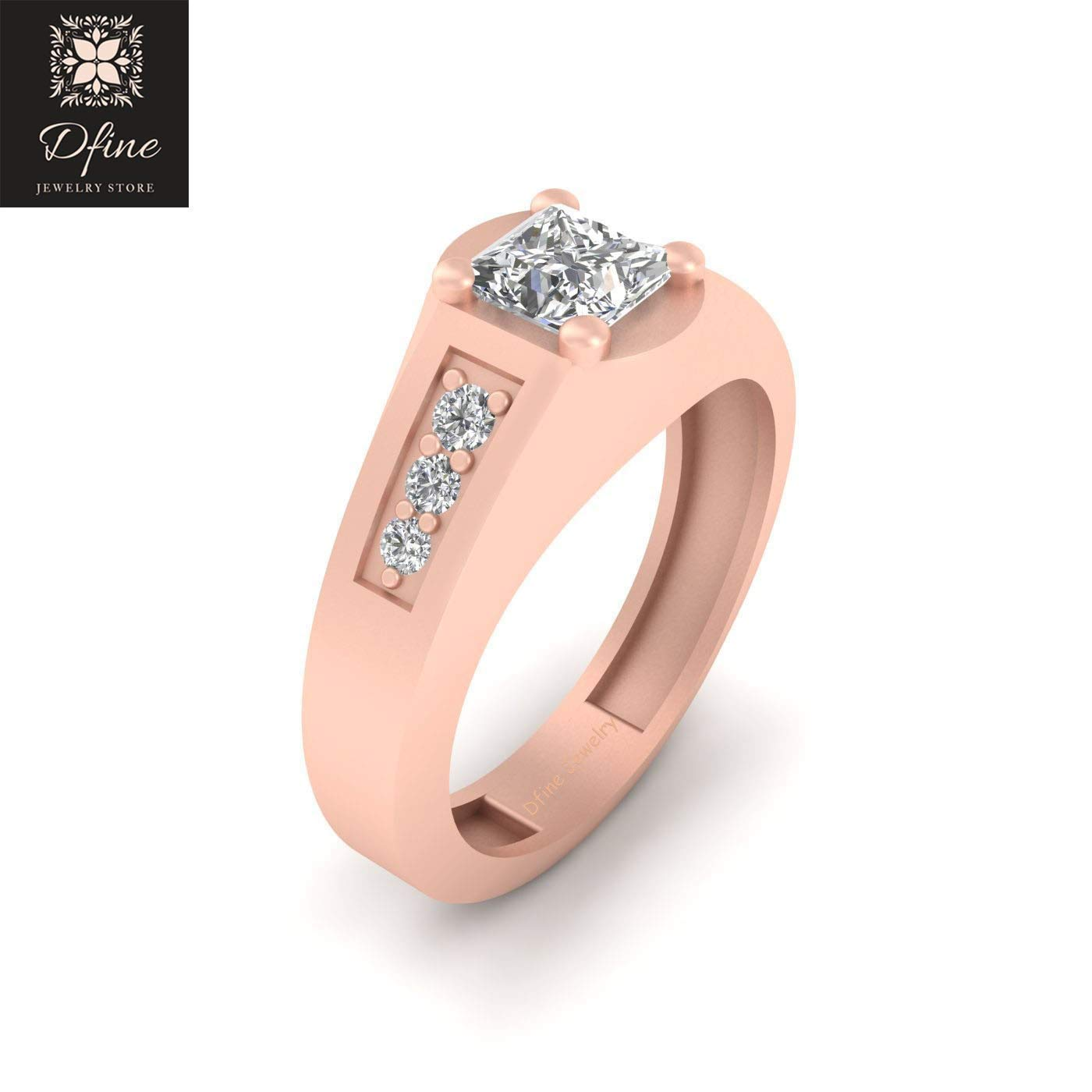 Amazon Com 0 90ct Simulated White Diamond Engagement Ring Groom