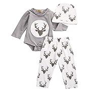 ef6a58b0b HOT SALE!!3Pcs Outfits Clothes Set,Newborn Infant Baby Boy Girl Deer Romper  Tops + Pants + Hat (Gray, 3M)