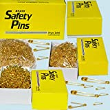 Brass Safety Pins - 1440 Pins / Box (Select Size) (#00 	Length 3/4 inch)