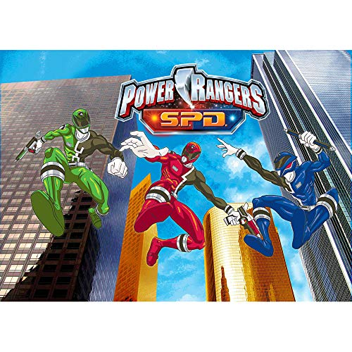 Photography Backdrop Birthday 7x5 Power Rangers Theme Photo Background for Boy Birthday Party High Building Tabletop Party Supplies ()