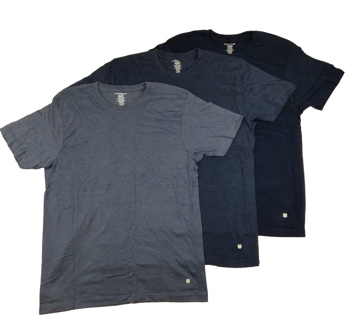 Lucky Brand Men's Three-Pack Crew T-Shirt (Navy/Navy Blue/Blue, M)