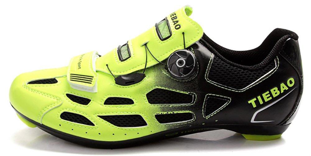 Weideng Professional Cycling Shoes Breathable Men Women Road Bike Racing Knob Fastener Shoe (7.5, Green) by Weideng