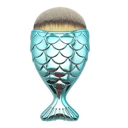 Transer Fish Scale Makeup Brush Fishtail Bottom Brush Powder Blush Makeup  Cosmetic Brush (Blue)
