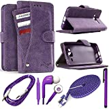 phone cases for a lg slide phone - LG Stylo 3 / Stylo 3 Plus / LS777 Case, Suede Slide-Out Pocket Wallet Case w/Transparent ID Window, Holds up to 9 Cards + 4 Piece Accessory Kit! (Purple)