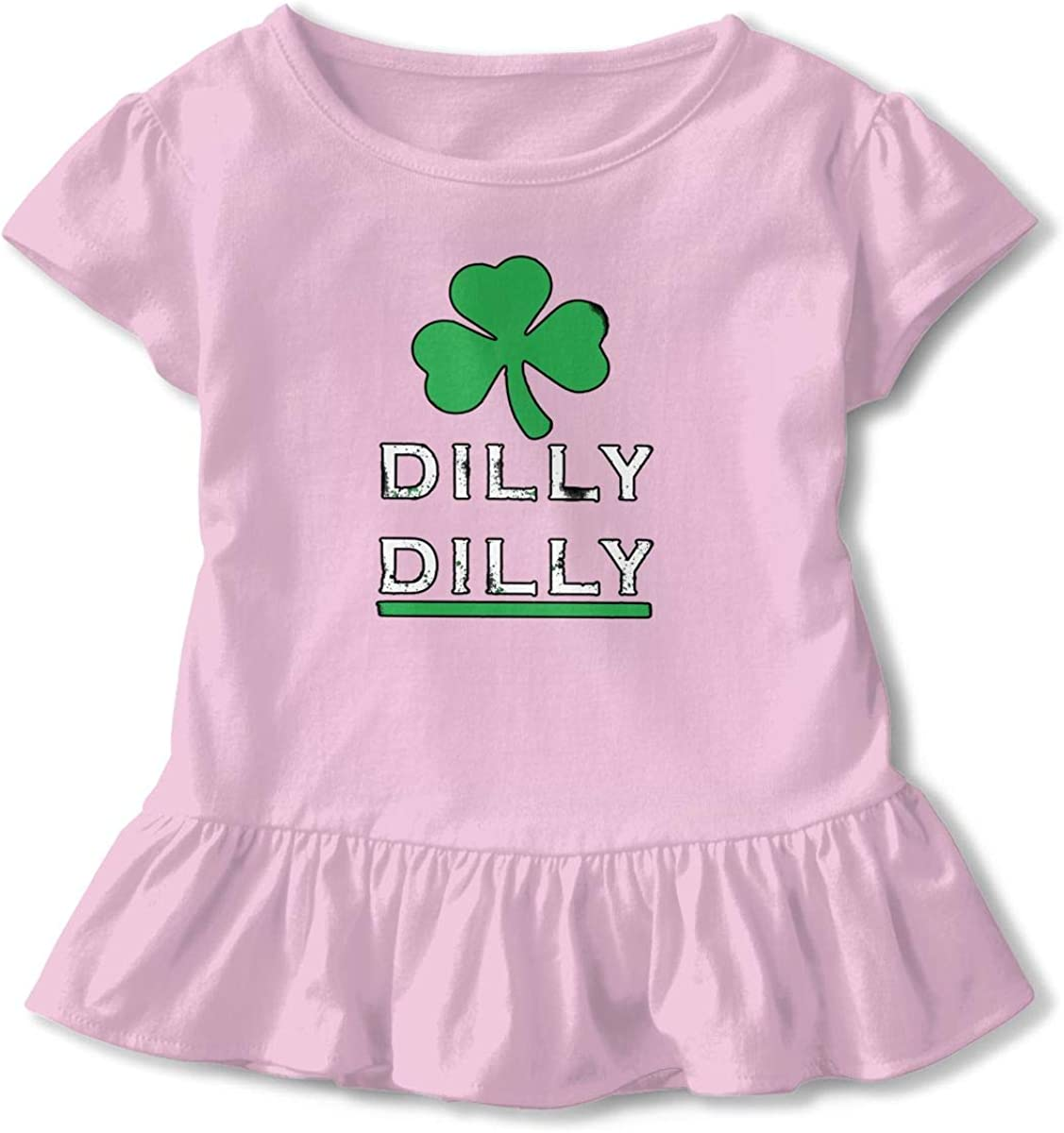 Vintage Dilly Dilly St Patricks Day Toddler Baby Girls Cotton Ruffle Short Sleeve Top Cute T-Shirt 2-6T