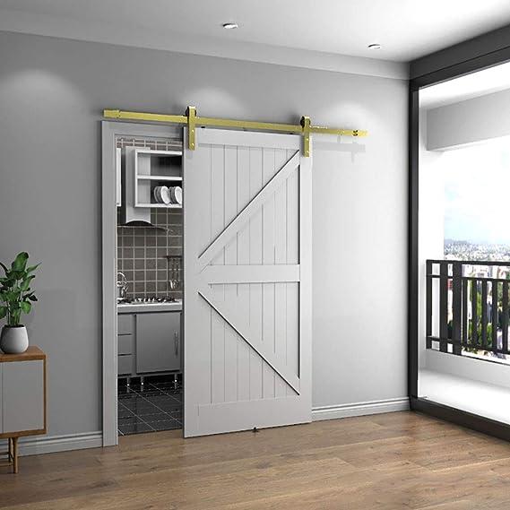 Herraje para Puerta Corredera Kit Kit de herrajes para rieles colgantes de puertas corredizas de 150-300 cm, accesorios para rieles de puerta de empuje y tracción de dormitorio, a prueba de humedad: