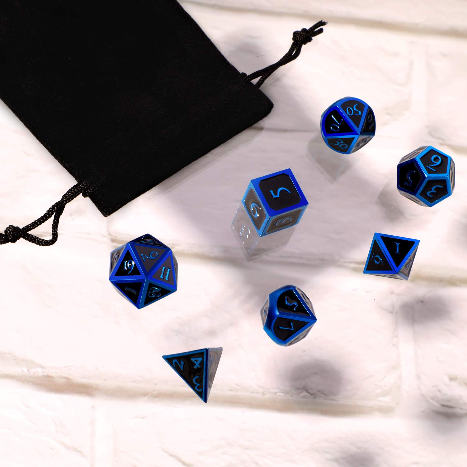 Hestya 7 Pieces Metal Dices Set DND Game Polyhedral Solid Metal D&D Dice Set with Storage Bag and Zinc Alloy with Enamel for Role Playing Game Dungeons and Dragons (Blue Edge Black) by Hestya (Image #7)