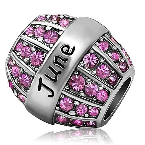 JMQJewelry Birthday Charms Bead For Bracelets (Pink, June Birthstone)