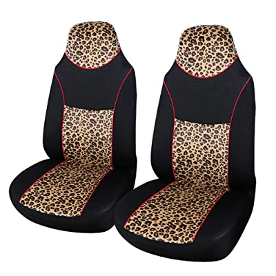 AUTOYOUTH 2PCS Trendy Leopard Pattern Integrated Front Bucket Seat Cover Velvet Fabric Black Auto Accessories Universal Fits for Most Cars, SUV, Truck ¡­ (YELLOW-2): Automotive