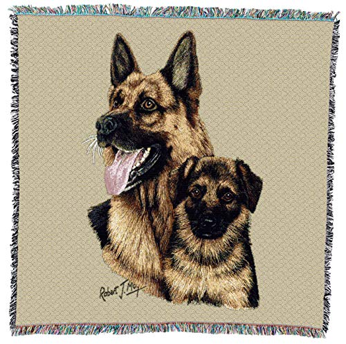 (Pure Country Weavers - German Shepherd with Puppy Woven Throw Blanket with Fringe Cotton. USA Size 54x54)