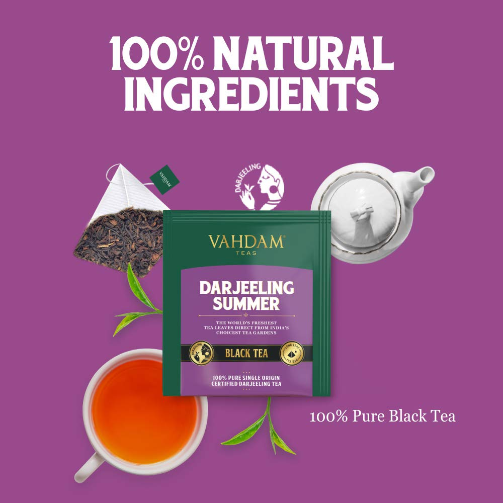 VAHDAM, Darjeeling Black Tea from Himalayas (30 Tea Bags) | Medium Caffeine, High Energy Tea | 100% Certified Pure Unblended Darjeeling Tea Bags from India | Brew Hot, Iced or Kombucha Tea