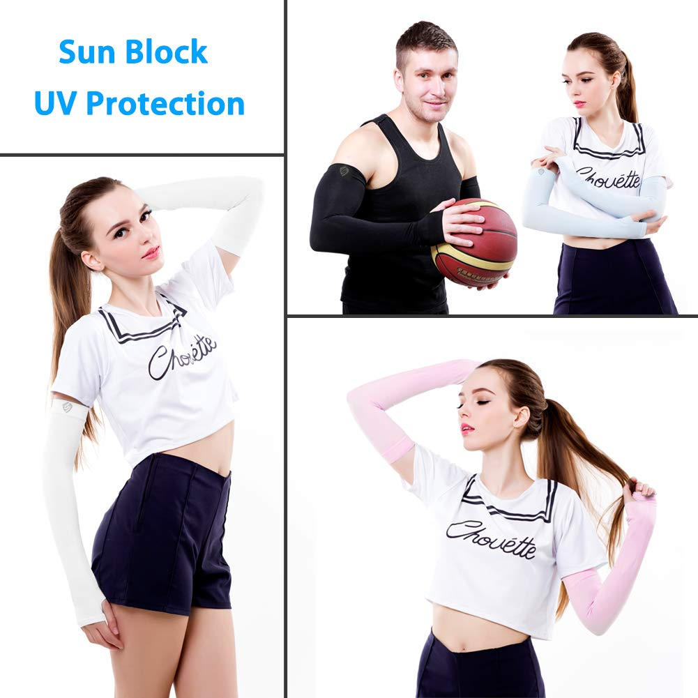 SHINYMOD UV Protection Cooling Arm Sleeves for Men Women Sunblock Cooler Protective Sports Running Golf Cycling Basketball Driving Fishing Long Arm Cover Sleeves (1 Pair Black) by SHINYMOD (Image #5)