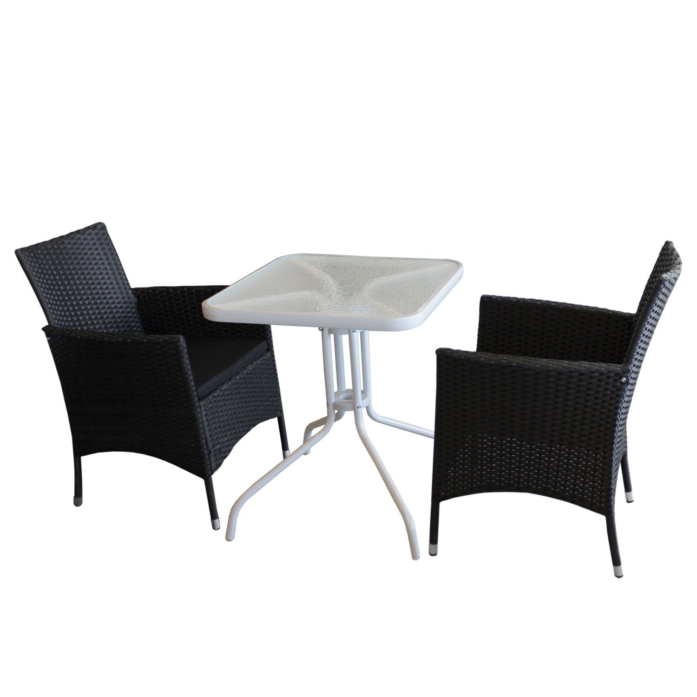 3tlg. Campingmöbel-Set Glastisch mit geriffelter Tischglasplatte Metallgestell weiß 60x60cm + 2x stapelbare Gartensessel mit Sitzkissen Rattanbespannung in schwarz - Gartenmöbel Campingmöbel Gartengarnitur Stapelstuhl Gartensessel