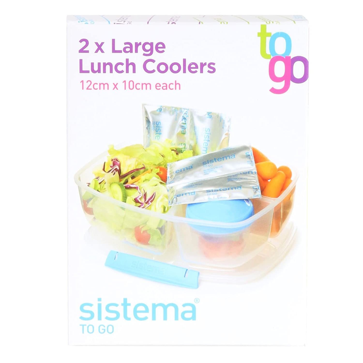 Sistema Pack of 2 Ice Packs Lunch Box Coolers Reusable Toxic Free