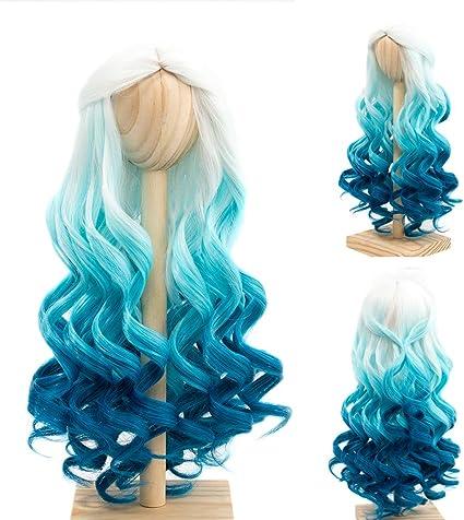 BJD Doll 1//4 7-8 Wig Long Curly Wavy Hair High Temperature Fiber Blue Green