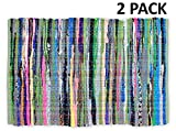 Kitchen Rugs Cotton Cotton Craft - 2 Pack Hand Woven Reversible 100% Cotton Multi Color Chindi Rag Rug - 20 x 32 - Rug is made from multi color re-cycled yarns, actual product may vary in color from the image shown
