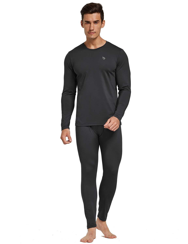 BALEAF Men's Lightweight Thermal Underwear Long Johns Set with Fleece Lined Black Size XXXL by BALEAF