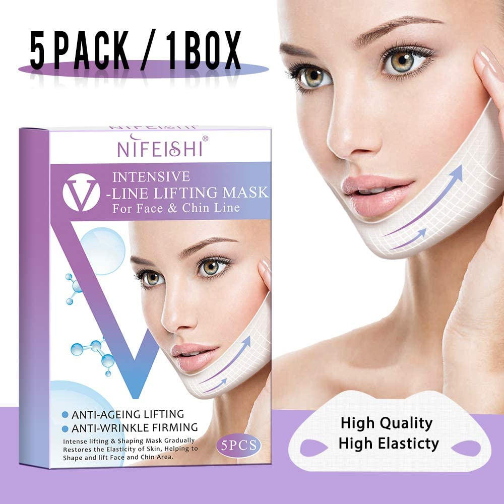 5 piezas V Line Mask Chin Up Patch Mascarilla reductora de Doble Mentón, V-Line Lifting Facial Reafirmante Hidratante Banda Coreana Adelgazante Máscaras Faciales: Amazon.es: Belleza