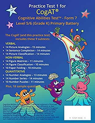 CogAT Test Prep Workbook – Kindergarten (Level 5/6) – Full Length Practice Test