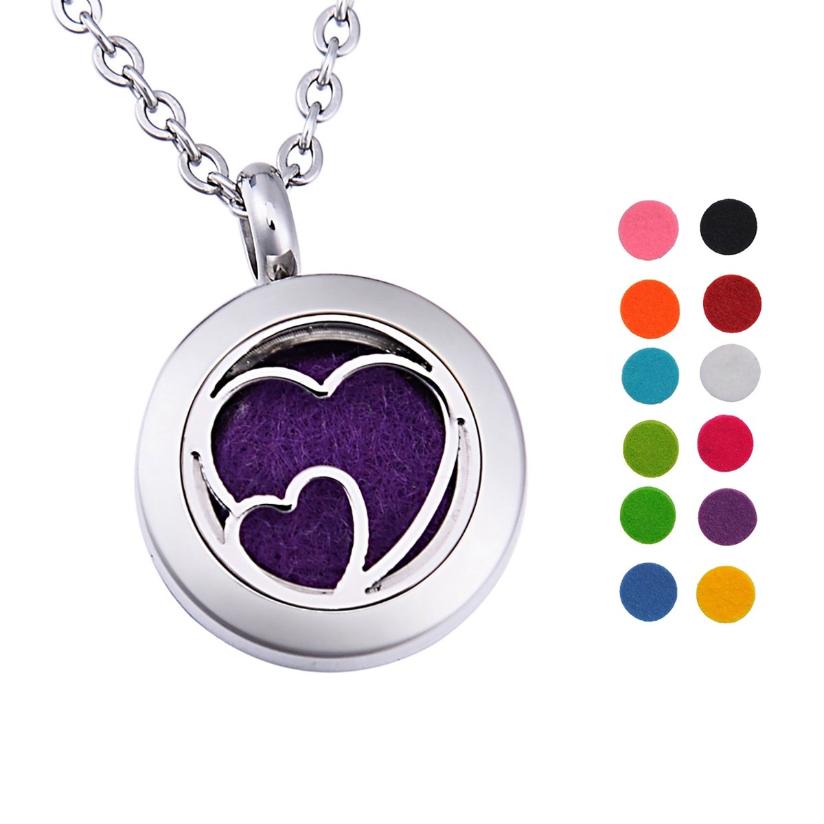 Double Heart Aromatherapy Essential Oil Diffuser Necklace Stainless Steel Pendant Locket with 12 Pads Supreme glory SGto-B226004