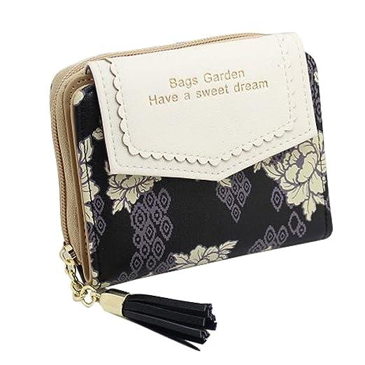 0949c930019b Women Cute Wallet Coin Purse Bifold Floral Wallet Clutch Bag with Tassels