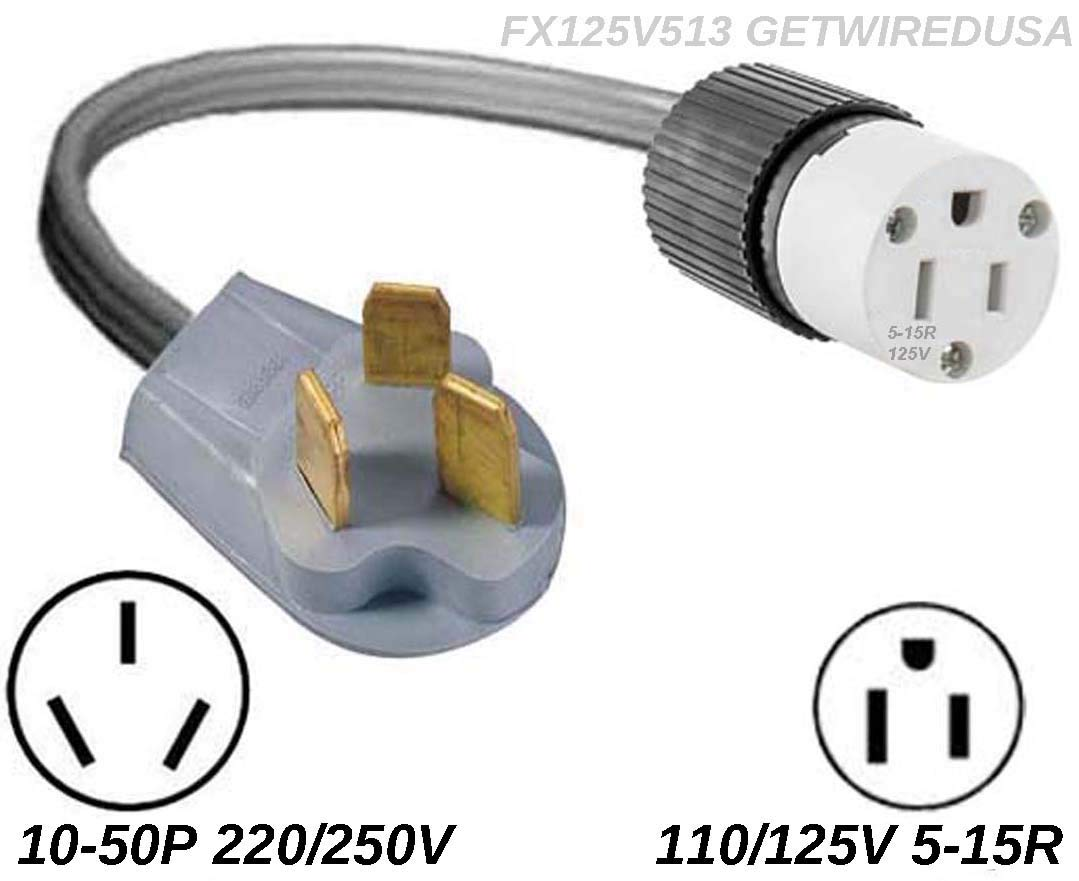 10-50P Male 3-Pin Plug To 3-Pin 5-15R Female Home Wall Outlet, 220/250V Electrical Stove/Range To Gas 110/125V Power Convert/Adapter. FX125V846 by getwiredusa