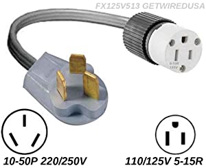10-50P Male 3-Pin Plug To 3-Pin 5-15R Female Home Wall Outlet, 220/250V Electrical Stove/Range To Gas 110/125V Power Convert/Adapter. FX125V846