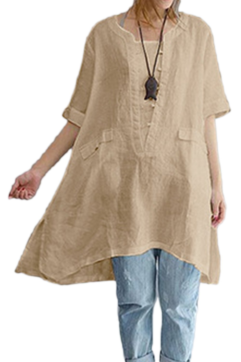 Zilcremo Womens Cotton Linen Blouse Dress Loose Boho Shirt Tunic Tops Plus Size CAFZ1910