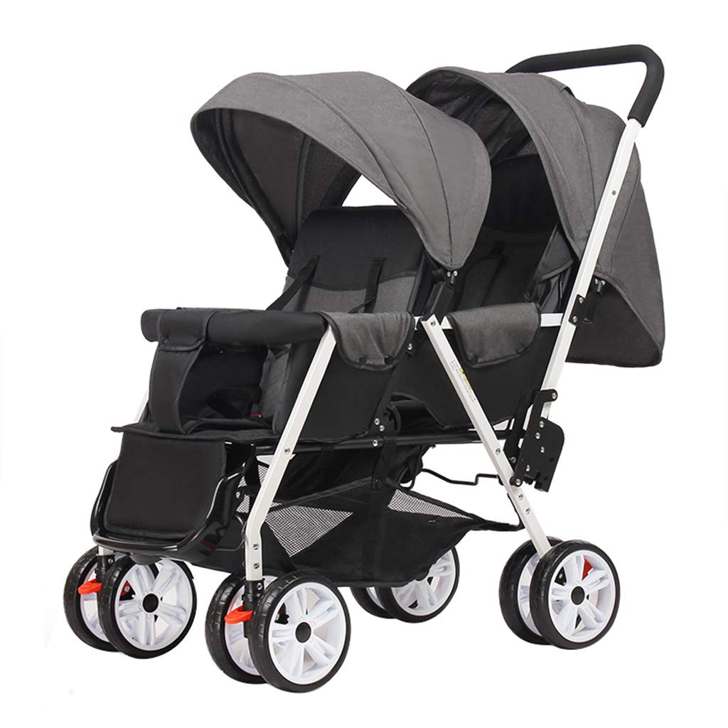 OCYE Double Stroller/Tandem Stroller/Double Stand Stroller/Side by Side Tandem Umbrella Stroller, Foldable Wide Sleeping Basket Multi-Range Adjustable Awning Oversized Basket