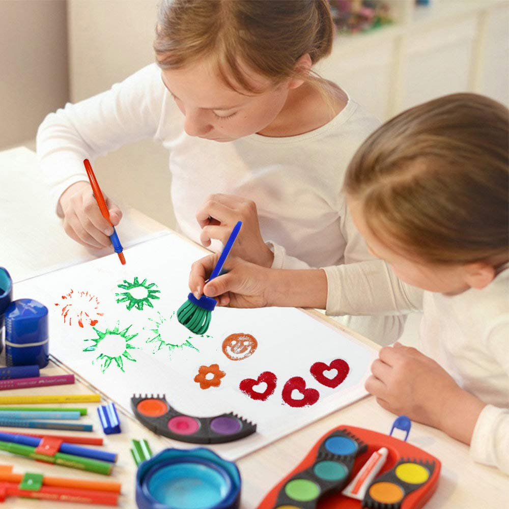 48pcs Kids Art /& Craft Early Learning Painting Sponges Stamper Mini Paint Brushes Kit with 26 English Alphabets Drawing Tools Brushes Only
