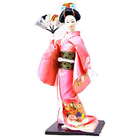 JG.BETTY14 38cm Christmas Dolls Japanese Folk Kimono Geisha Doll Maiko Doll Puppet Stand on Base for Decorative Home and Hotel Gifts Doll 14 Inch, Pink Doll JD017