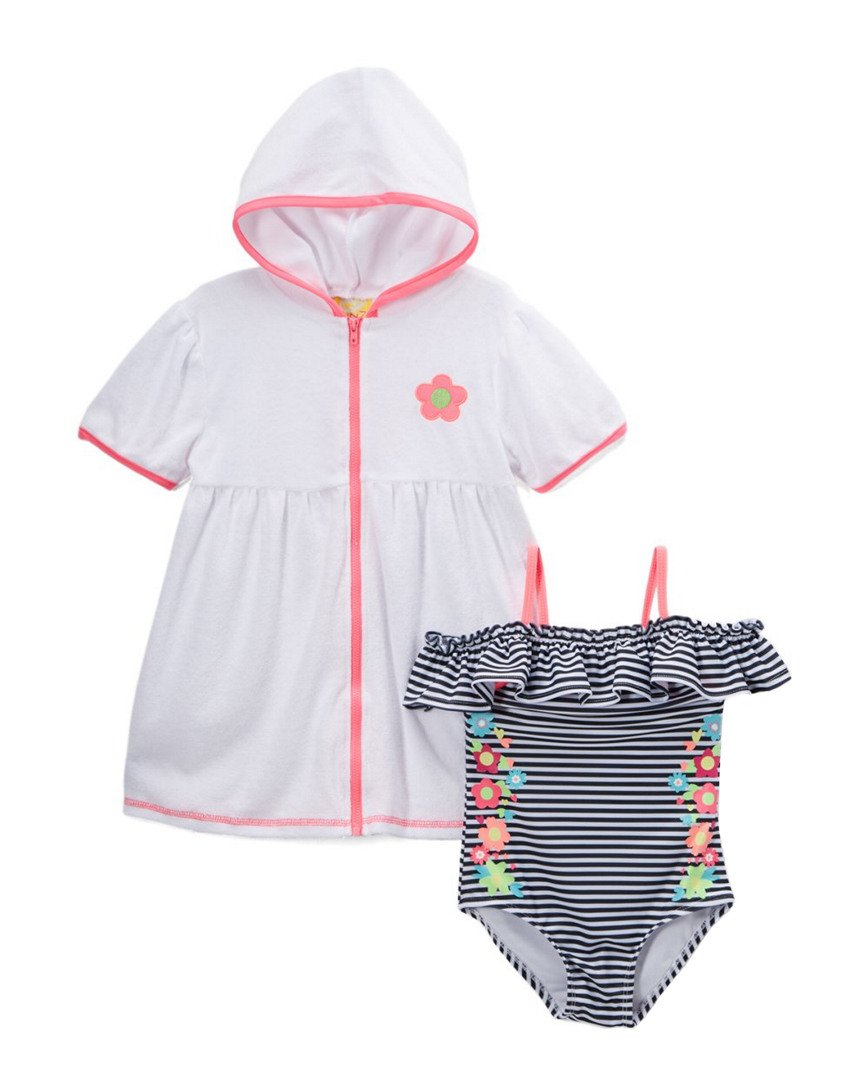 Baby Buns Little Girls' One Piece Summer Dream Swimsuit Set with Hooded Cover up, Multi, 4
