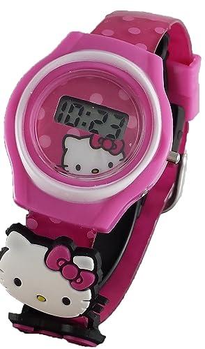 Hello Kitty rosa de la niña reloj Digital con 2 charms hk3002: Amazon.es: Relojes