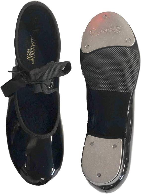 Girls Shiny Black Tap Shoes Dance