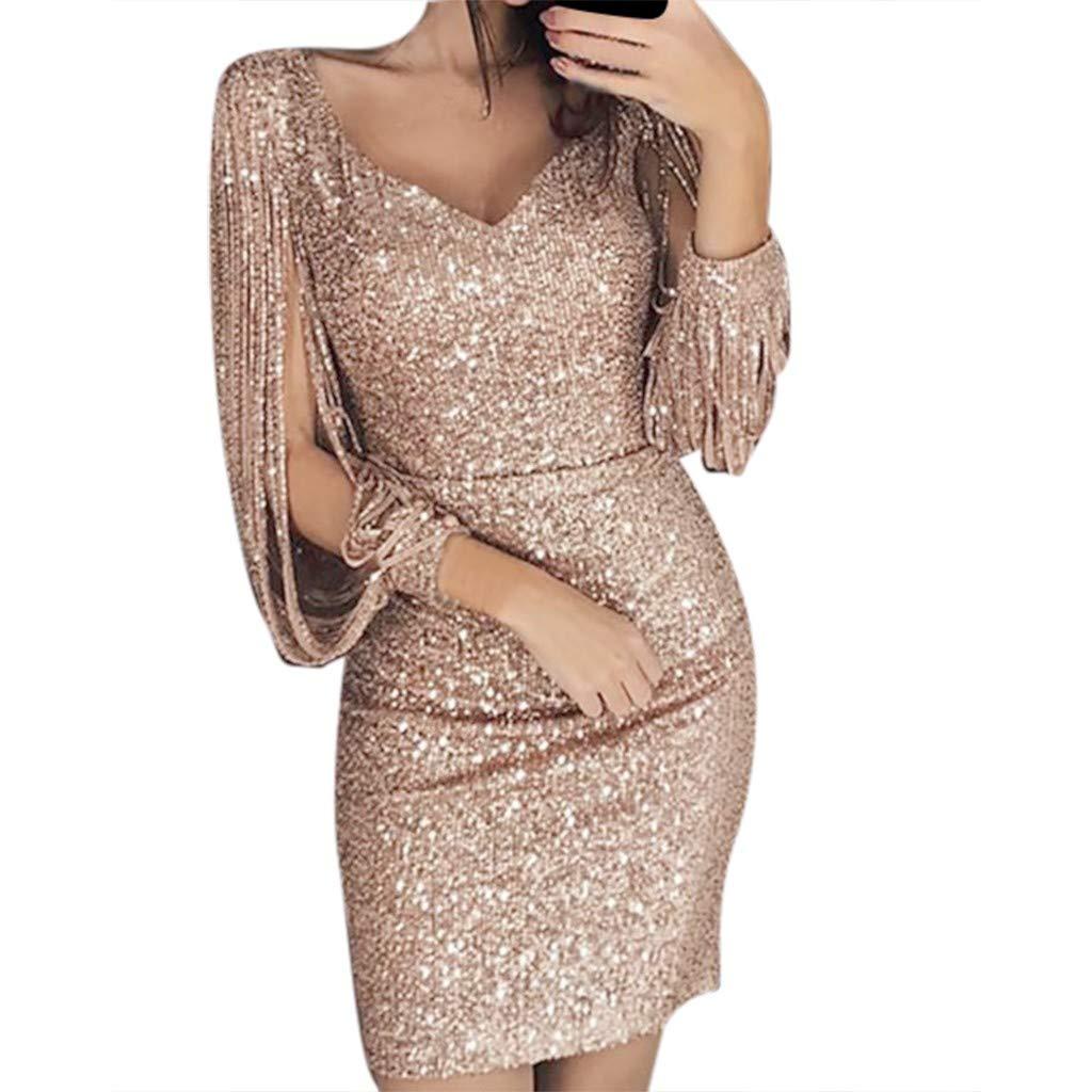 Luckycat Glänzend Partykleid Damen Abendkleider Elegante Festliches Kleid Fransen Langarm V-Ausschnitt Sexy Cocktailkleid für Hochzeit Paillettenkleid