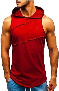 kemilove Men Tanks Tops,Mens Sleeveless Solid Hooded Splicing Tanks Tops Vest Jacket Patchwork Contrast Slim Fit Vest